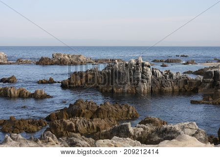 This is an image of tide pools and rocks near the shore of Pacific Grove, California taken in the early morning.