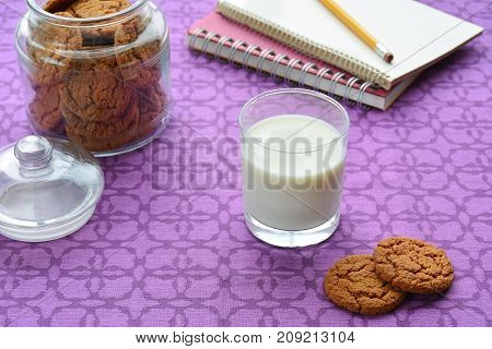 Milk and cookies for an after school snack. In horizontal format and shot in natural light.