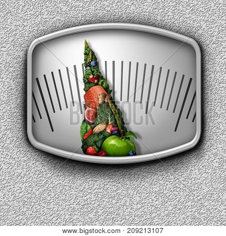 Healthy food weight scale as nutritious fruit vegetables and protein shaped as a measuring dial needle as a diet control concept in a 3D illustration style.