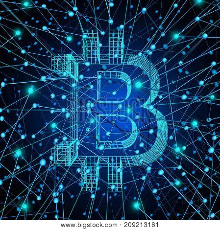 Bitcoin network as a digital money technology or crypto currency symbol as virtual banking on the internet as a future money concept as a 3D render.