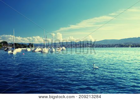 Zurich lake with yachts, Switzerland