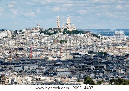 Aerial view of central Paris and the Montmartre hill including the Sacre Coeur Basilica