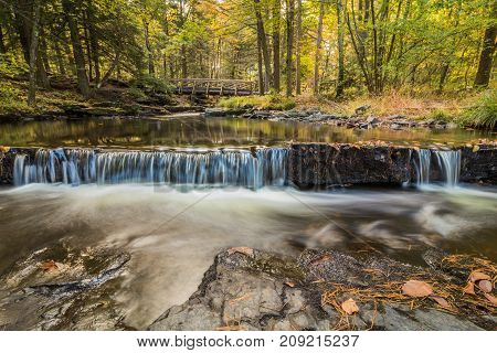 Picturesque waterfall begins Factory Falls in Pocono Mountains, PA