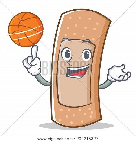 With basketball band aid character cartoon vector illustration