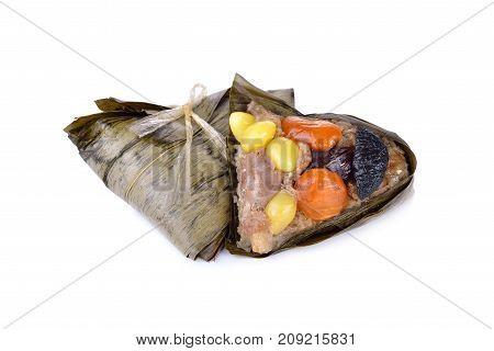 sticky rice dumpling or Zongzi on white background