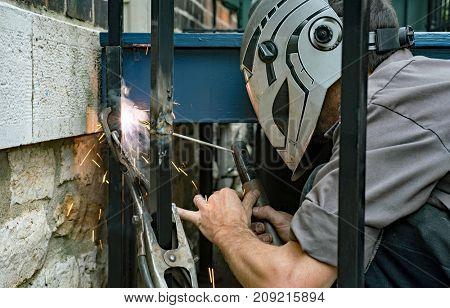 Welder Welding Iron Post