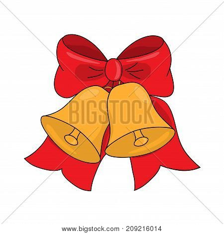 Christmas jingle bells with red bow on a white vector illustration