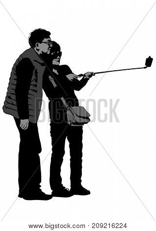 Women with a camera on white background