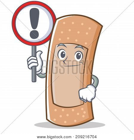 With sign band aid character cartoon vector illustration