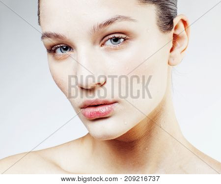 young sweet brunette woman close up isolated on white background, perfect pure innocense beautiful, spa people concept copyspace closeup