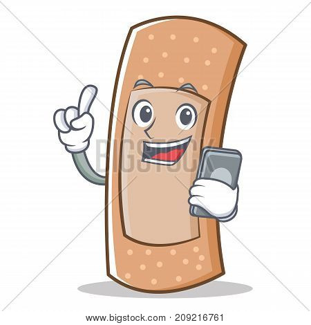 With phone band aid character cartoon vector illustration