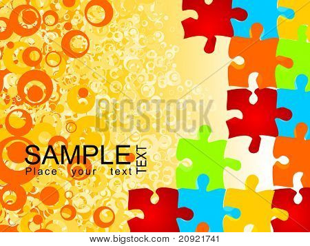 circle pattern with colorful puzzle texture