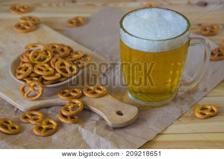 Beer And Pretzels On The Table. Octoberfest Theme