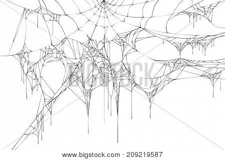 Black large torn spider web on white background. Halloween symbol accessory vector illustration