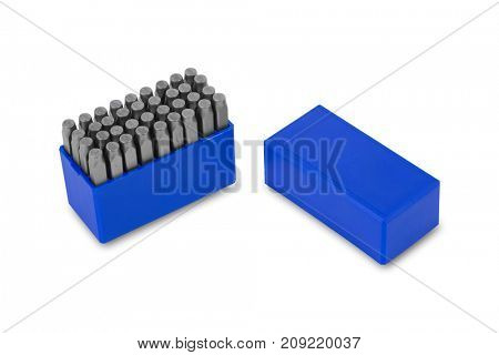 metal lettering stamps punch set in a plastic box, clipping path