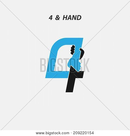 Creative 4- Number icon abstract and hands icon design vector template.Business offer, Partnership, Hope, Support or help concept.Vector illustration