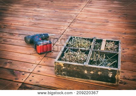 wood screws in a wooden box