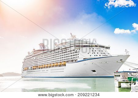 Cruise ship vacation travel boat on Caribbean destination holiday getaway. Tropical sun holidays.