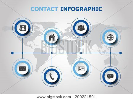 Infographic design with contact icons, stock vector
