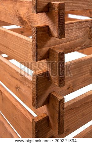 Close-up of the ends of pine boards with isolated against a white background