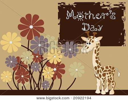 giraffe with colorful flowers on mother day