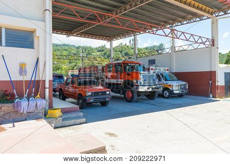 boquete panama October 2017: in October the village firefighters are always ready to intervene because the rainy season has ended. These are the cars and trucks they use.