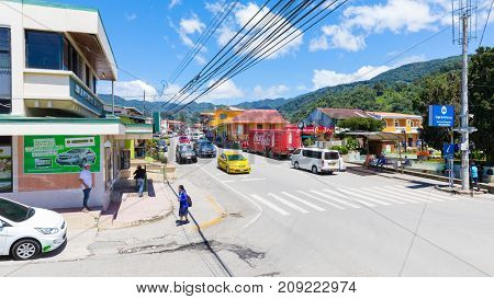 boquete panama October 2017: in October the village prepares for the arrival of tourists who decide to spend their holidays in this mountainous place where they find restaurants cafeterias and supermarkets