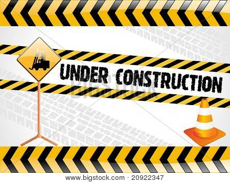 vector illustration for under construction with isolated traffic-cone