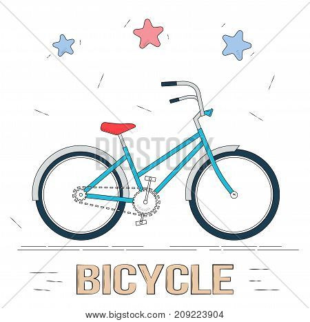 Bike in cartoon style. Trendy style for graphic design, Web site, social media, mobile app.