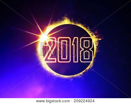 illustration of 2018 like solar eclipse, enlarged view in the Universe