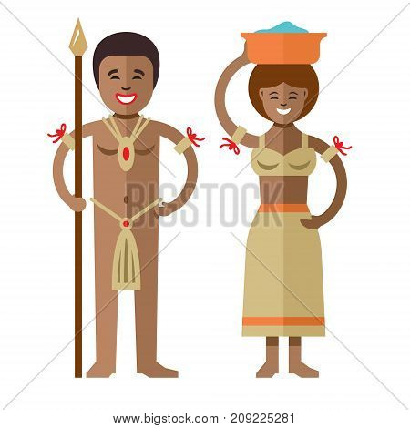 Warrior with spear and woman with pelvis. Isolated on a white background