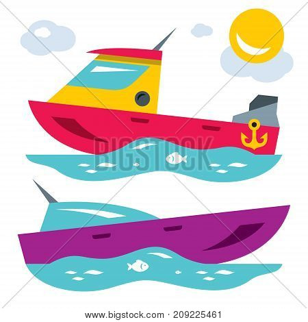 Powerboat and modern yacht. Isolated on a white background