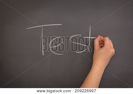 A Teacher writing the word Text on the blackboard