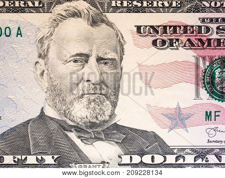 Fifty dollar with president Grant portrait for money background