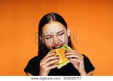 the girl eagerly eats an appetizing hamburger. the hungry girl eats. Isolated on an orange background.