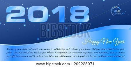 Vector Hapy New Year 2018 Banner In Blue