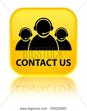 Contact Us (customer Care Team Icon) Special Yellow Square Button
