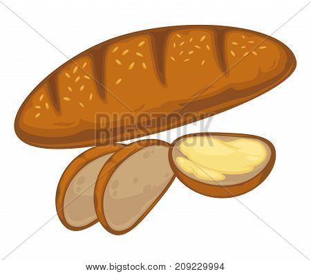 Bread bun or wheat loaf bagel or rye baguette. Vector flat icon of baked and sliced croissant with sesame for bakery shop or patisserie
