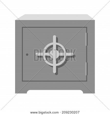 Metal square heavy old-fashioned safe with round handle isolated cartoon flat vector illustration on white background. Secure steel container with limited access to keep precious thing inside.
