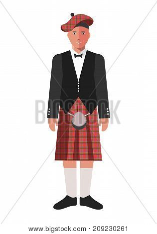 Scotsman in kilt skirt, black jacket, beret with checkered red pattern and knee socks isolated cartoon flat vector illustration on white background. Male character in ethnic national clothes.