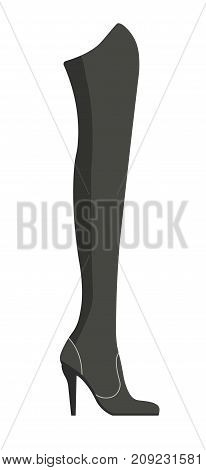 Female jackboot on thin stiletto made of black suede with leather inserts isolated cartoon flat vector illustration on white background. Warm stylish footwear of high quality with feminine design.