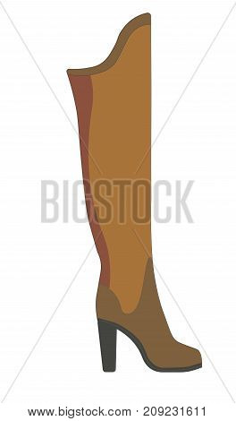 Warm winter female boot made of brown suede with leather insert on solid heel isolated cartoon flat vector illustration on white background. Stylish footwear of modern design for cold weather.