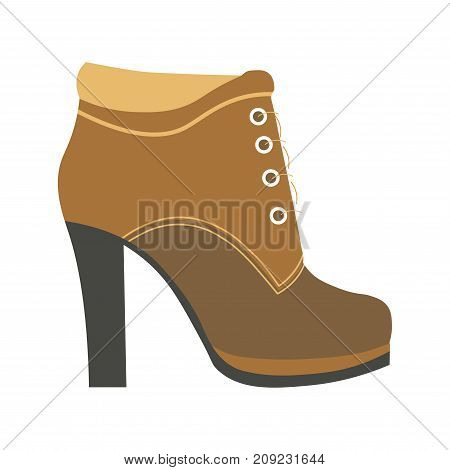 Warm female half-boot on heel with laces made of suede and leather on solid heel isolated cartoon flat vector illustration on white background. Stylish footwear of high quality for cold weather.