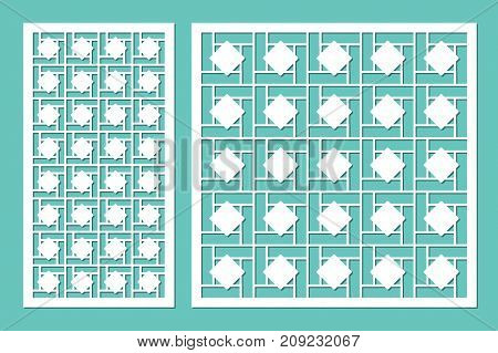Set decorative panels laser cutting. wooden panel. Elegant modern geometric pattern of lines. Ratio 1:2, 1:1. Vector illustration.