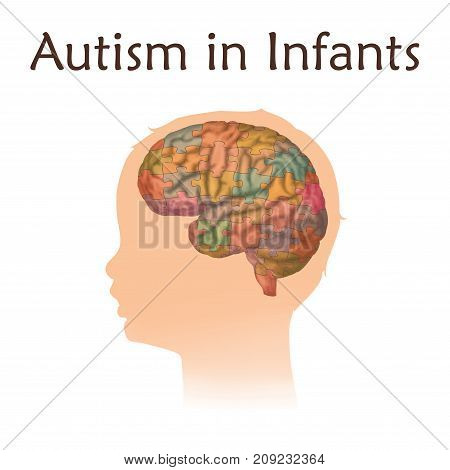 Autism in infants. Vector medical illustration. Kid, baby, childhood. White background, silhouette of child head, anatomy image of brain, puzzle.