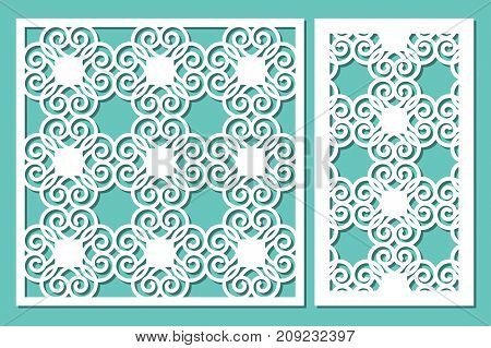 Set decorative panel laser cutting. wooden panel. Modern elegant geometric circular pattern. Ratio 1:2, 1:1. Vector illustration.
