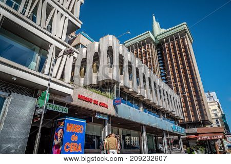 Madrid, Spain - October 14, 2017: Outdoor view of the Wax Museum of Madrid. Located on the Paseo of Recoletos.Museums and contains representations of the most prominent figures today.