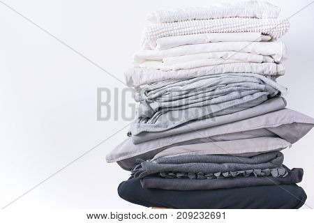 Stacks Different Shades Grey White Black Bed Linen
