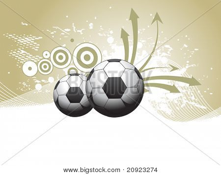 white wave, grunge background with arrows, football, circle