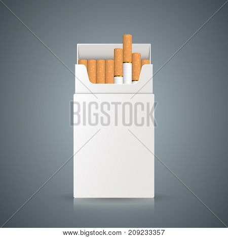 packing of cigarettes on the grey background. Vector, eps 10